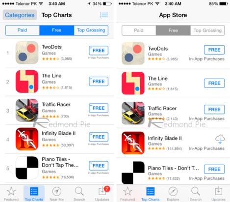 iOS 8 / iOS 7 並排對比: 各版面改變一覽 [圖庫]