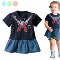 魔法Baby ~海洋風肩開扣連身裙 深藍 ~童裝~女童裝~時尚設計童裝~k20922