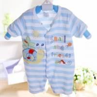 魔法Baby ~法國設計短袖前開扣連身衣 藍白條紋 ~童裝~男童裝~時尚設計童裝~k22353