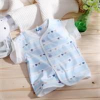 魔法Baby ~百貨專櫃正品短袖前全開扣居家上衣 粉藍 ~童裝~男童裝~時尚設計童裝~k03287_
