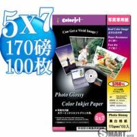 日本進口 color Jet 防水亮面噴墨相片紙 5X7 170磅 100張