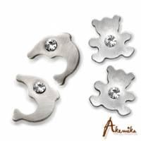 《Akemika》動物派對 海豚與熊寶貝純鋼耳環